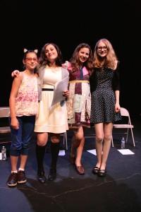 Girl Improved Reading - April 2015 - Ground Floor Theatre, Austin, TX | Pictured: Lisi Sweeten, Liliana Sweeten, Zia Kinzy, Grayce Fischer